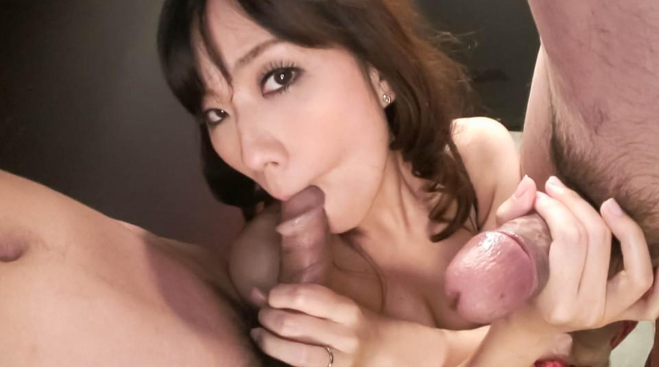 Akina hara sucks on several dicks in a series of sloppy oral 4