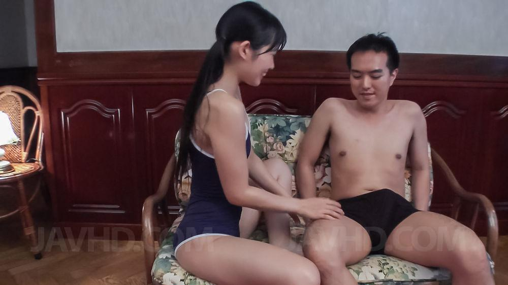 Preview JAV HD - Yui Kasugano Asian in bath suit pours cum on palm after blowjob